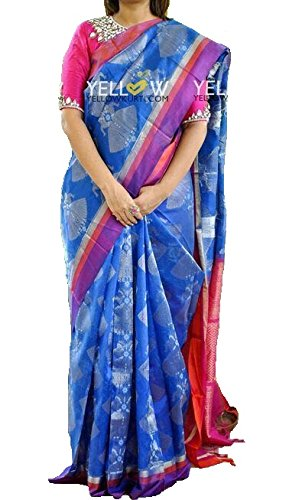0859443cf0 Megha Designer Cotton Silk Saree With Blouse Piece (Tusaar Zarna Blue-Bf_Blue_Free  Size): Amazon.in: Clothing & Accessories