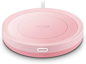 Smart Coffee Warmer, BESTINNKITS Auto On/Off Gravity-induction Mug Warmer for Office Desk Use, Candle Wax Cup Warmer Heating Plate (Up To 131F/55C) (Rosa)