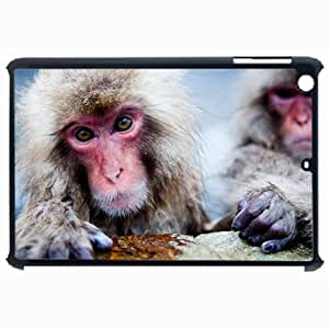 Customized Back Cover Case For iPad Air 5 Hardshell Case, Black Back Cover Design Japanese Macaque Personalized Unique Case For iPad Air 5
