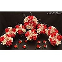 Red Coral and Ivory BEADED Flower Lily Wedding / Quincenarea Bouquet 16 PC Set with FREE Boutonnieres