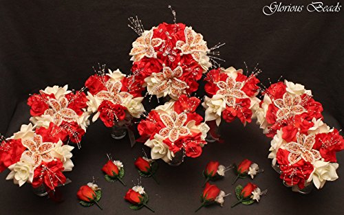 Red Coral and Ivory BEADED Flower Lily Wedding / Quincenarea Bouquet 16 PC Set with FREE Boutonnieres by Glorious Beads