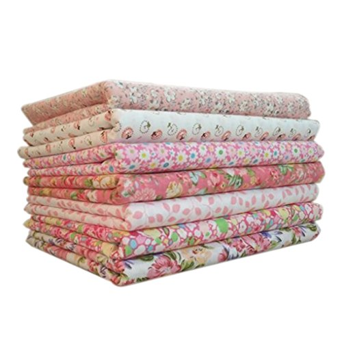 Idyandyans 7pcs/Set Cotton Fabric for Sewing Quilting Patchwork Home Textile Pink Series Tilda Doll Body Cloth 25x25cm