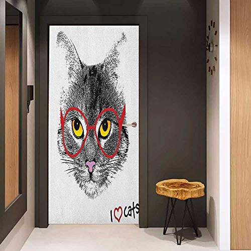 (Onefzc Wood Door Sticker Cat Wise Nerd Cat with Glasses Judging The World Humor Digital Style Art Illustration Easy-to-Clean, Durable W38.5 x H79 Black White Red)