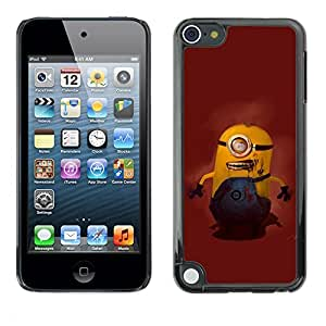 SoulCase / Apple iPod Touch 5 / Cute Yellow Zombie / Slim Black Plastic Case Cover Shell Armor