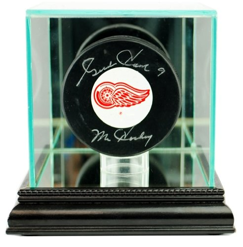 Hockey Puck Glass Display Case with Black Base (5 Hockey Puck Display Case)