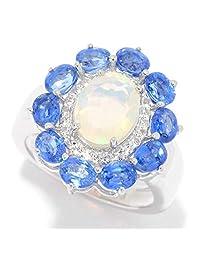 Pinctore Sterling Silver Ethiopian Opal, Kyanite & White Topaz Flower Ring