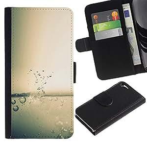 Agua Splash gota - la tarjeta de Crédito Slots PU Funda de cuero Monedero caso cubierta de piel Para Apple iPhone 5 / iPhone 5S