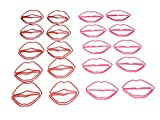 Butler in the Home Decorative Color Lip Clips Lip and Mouth Shaped Paper Clips or Book Page Markers Red and Pink (20 Count Pack, Bagged)