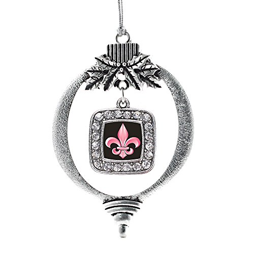 Inspired Silver - Fleur De Lis Charm Ornament - Silver Square Charm Holiday Ornaments with Cubic Zirconia - Pendant De Lis Fleur Crystal