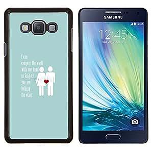Amor Baby Blue Pareja Corazón Inspiring- Metal de aluminio y de plástico duro Caja del teléfono - Negro - Samsung Galaxy A7 / SM-A700