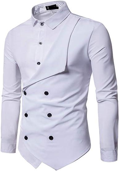 Mr.BaoLong&Miss.GO Otoño Camisa De Hombre Personalidad Doble Botonadura Falsa Camisa De Manga Larga De Dos Piezas Camisa Ajustada De Color Sólido