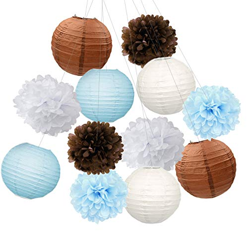 (Furuix Teddy Bear Theme Baby Shower Decorations White Brown Blue Tissue Pom Pom Paper Lanterns Teddy Bear Theme Birthday Party Decorations)