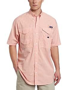 Columbia Men's Super Bonehead Classic Short Sleeve Shirt, Small, Bright Peach/Gingham