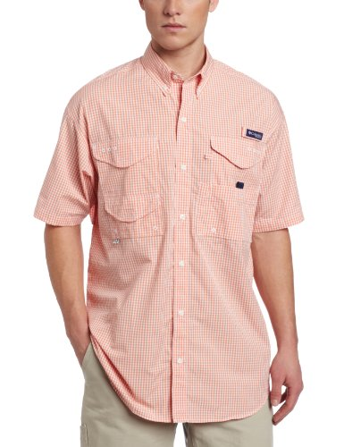 Columbia Men's Super Bonehead Classic Short Sleeve Shirt, Small, Bright Peach/Gingham