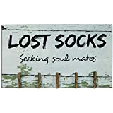 """CWI Gifts Lost Socks Wooden Sign with Clothespin Clips, 8"""" x 14"""""""
