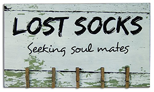 CWI Gifts Lost Socks Wooden Sign with Clothespin Clips, 8