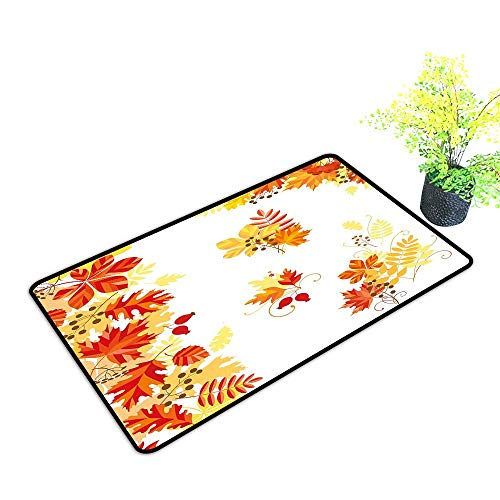 Zmstroy Fashion Door mat Fall Autumn Themed Pattern Chestnut Oak Maple Leaves and Berries Corner Design Elements W30 xL39 Non-Slip Backing Multicolor