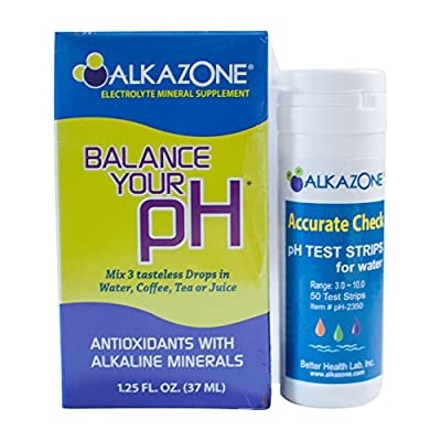 Alkaline Water Drops with Ph Test Strips Bundle - Alkazone Antioxidant Alkaline Mineral Drops Make Your Own Alkaline Water Raise Ph | Includes 50 Ph Test Strips for Water to Test Alkalinity