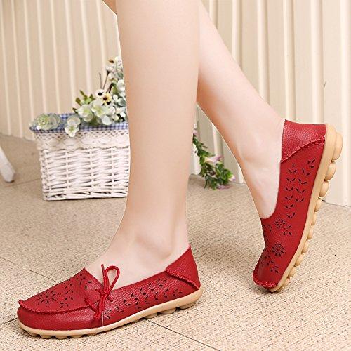 VenusCelia Damen Atmungsaktiver Walking Flat Loafer rot