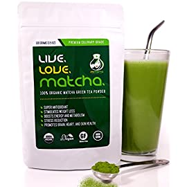 Matcha Green Tea Powder Organic, Perfect for Matcha Lattes, Smoothies, Baking, Premium Culinary Grade, 100gms (3.5oz) 58 ·SUPPORTS WEIGHT LOSS NATURALLY - matcha increases the metabolic rate which aids in burning calories. It also helps inhibit fat storage ·POWERFUL ANTIOXIDANT - Our matcha powder contains 137X MORE EGCg (Epigallocatechin Gallate) than regular green tea- a natural component of green tea that works to enhance protection from damage due to free radicals ·RELIEVES STRESS - the L-THEANINE in our matcha green tea is a potent amino acid that aids in relaxation while enhancing mood and improving focus and concentration