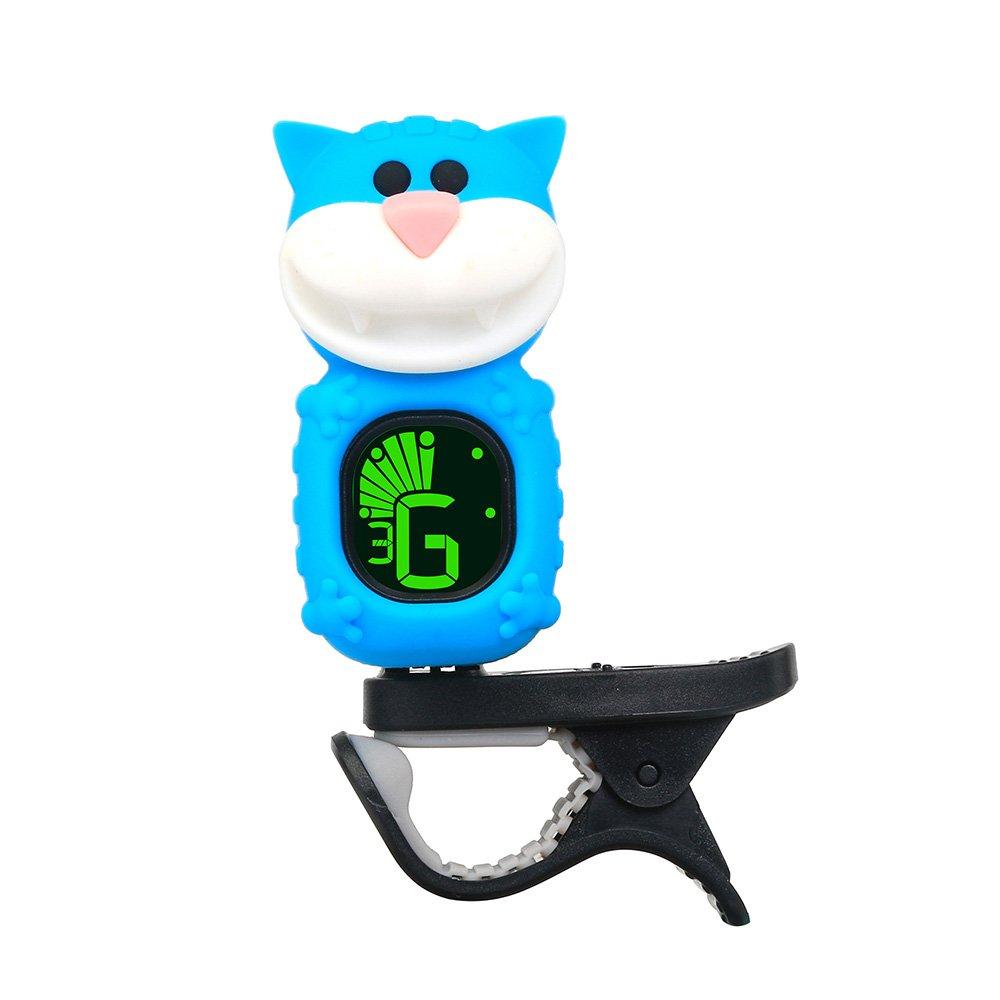 Muslady Accordeur de Guitare Affichage LCD Bulldog de dessin animé mignon pour guitare basse chromatique Ukulélé Violon 1