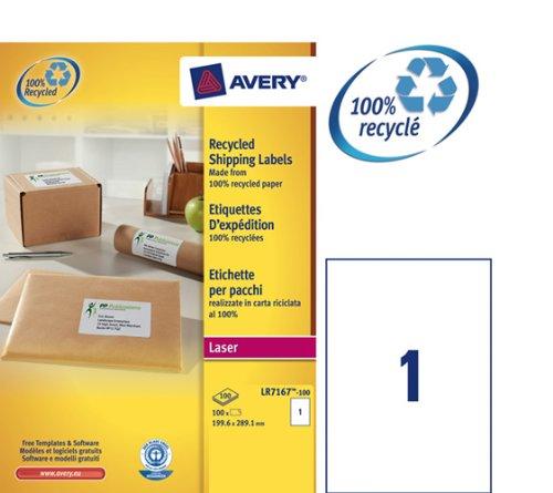199,6 x 143,5 mm 200 /Étiquettes recycl/ées laser Blanc LR7168-100 Avery