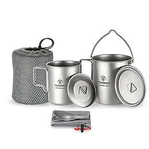 TOMSHOO 3 en 1 Kit de Titanio Olla + Taza + Tenedor-Cuchara Ideal para Cocina Picnic Montañismo al Aire Libre o en Casa: Amazon.es: Hogar