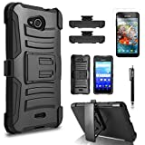 Kyocera Hydro Air Case, Combo Rugged Shell Cover Holster with Built-in Kickstand and Holster Locking Belt Clip + Circle(TM) Stylus Touch Screen Pen And Screen Protector - Black