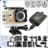 DITONG DT61 4K Ultra HD Action Camera Wifi 1080P 60fps 16MP/12MP 2.0 inch Waterproof Sports Video Camera Car Helmet Camcorder with 2pcs Batteries(Gold)