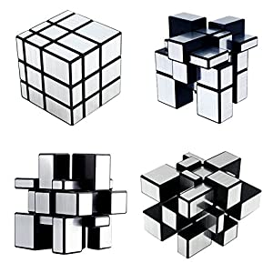 Set of 3 Speed Cube Pyraminx, Megaminx, Silver Mirror, YKL World Magic Puzzles for Kids Toy Gift