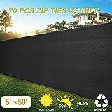 JAXPETY 5' x 50'Heavy Duty Privacy Screen Fence Windscreen Shade Fabric Mesh Tarp copper grommets 130 GSM 88% Blockage Black