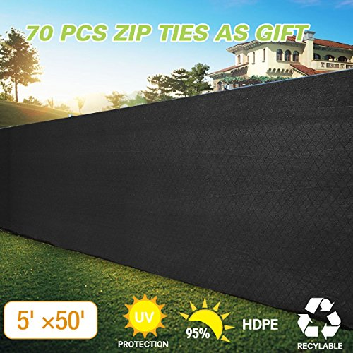 JAXPETY 5' x 50'Heavy Duty Privacy Screen Fence Windscreen Shade Fabric Mesh Tarp copper grommets 130 GSM 88% Blockage Black by JAXPETY