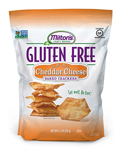 Milton's Gluten Free Baked Crackers, Cheddar Cheese, 4.5 Ounce Bag (Pack of 12)