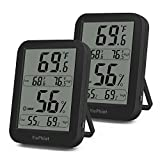 YiePhiot Digital Hygrometer Indoor Black Thermometer Humidity Monitor Large LCD Display with Temperature Gauge Humidity Meter (2 Pack)