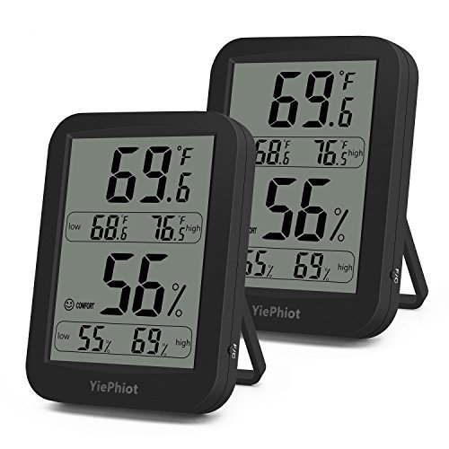 YiePhiot Digital Hygrometer Indoor Black Thermometer Humidity Monitor Large LCD Display with Temperature Gauge Humidity Meter (2 Pack) by YiePhiot