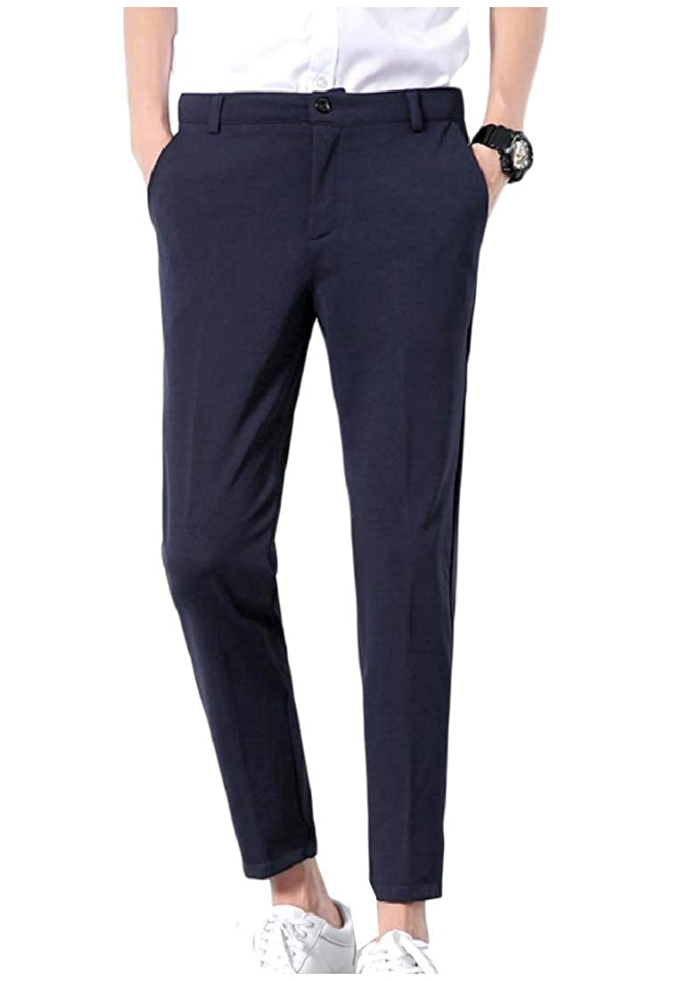 Whitive Mens Fit Solid Colored Business Pockets Slim-Tapered Dress Pant