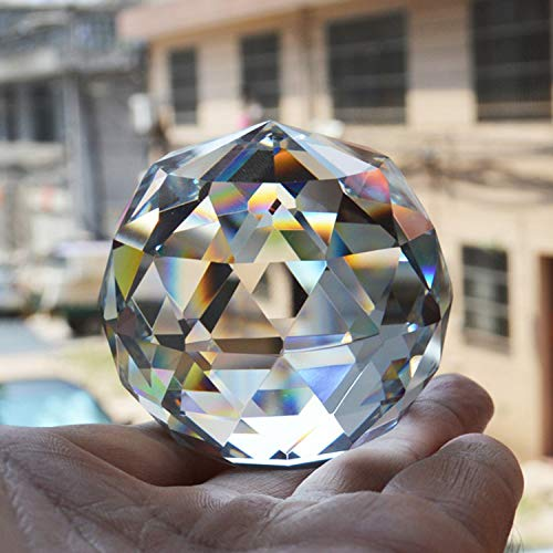 Yaegoo Clear Cut Crystal Glass Ball, 80mm Translucent Faceted Gazing Ball, Crystal Sphere Prisms Suncatcher Home Hotel Decor Hardware Fittings (80mm/3.15in)