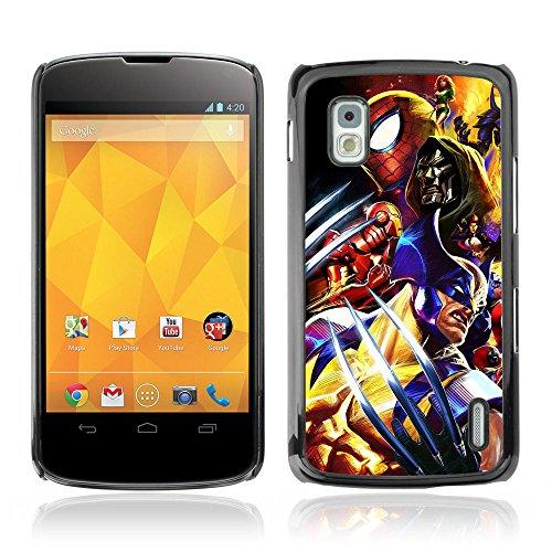 CASETOPIA / Video Game Charachters / LG Google Nexus 4 E960 / Black Hard Back Case Cover Shell Armor (Cartoon Charachters)