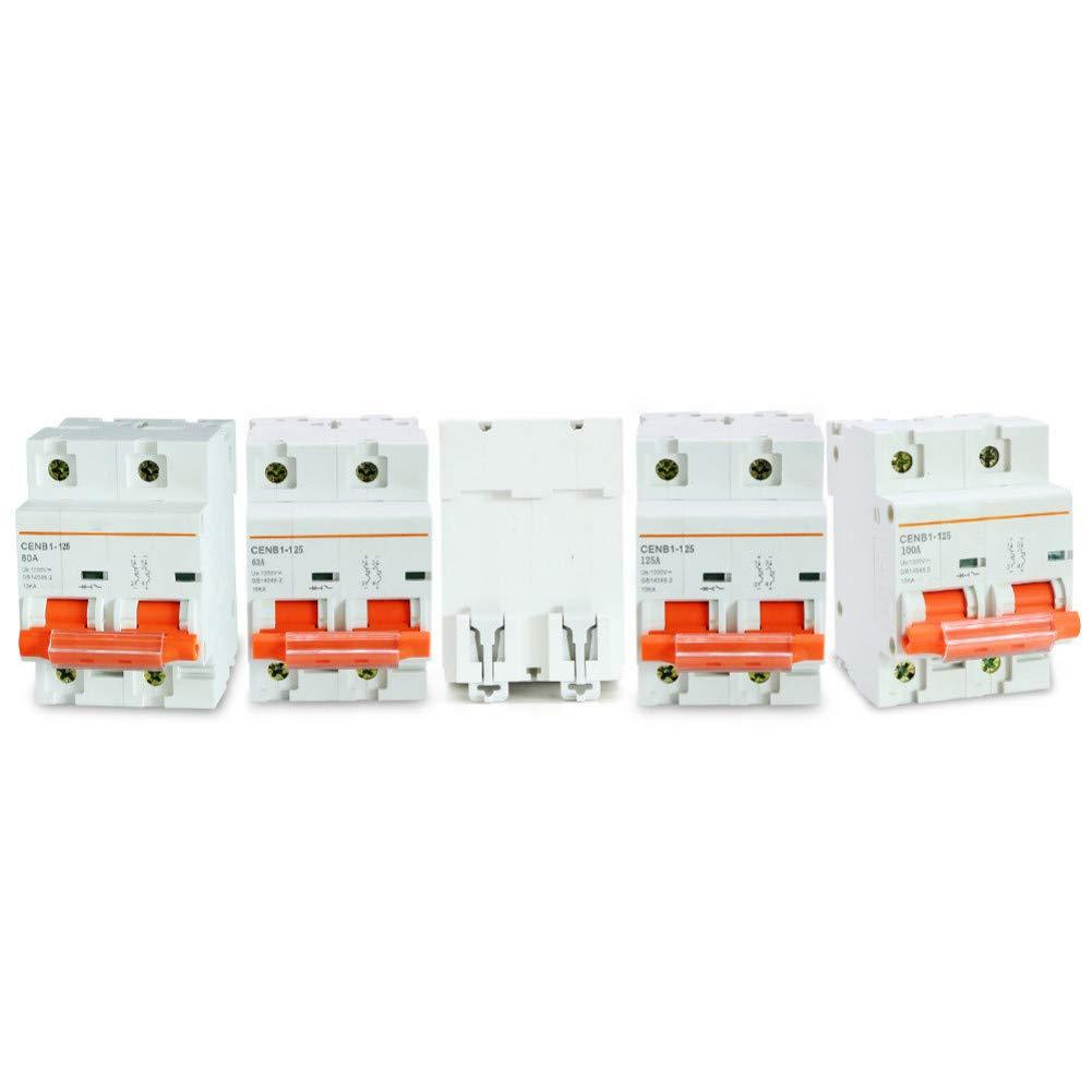 Hochwertiger 2P Dc 1000V Solar-Leistungsschalter Dc-Leistungsschalter Mcb Dc-Leistungsschalter 63A 80A 100A 125A F/ür Globale Solaranwender