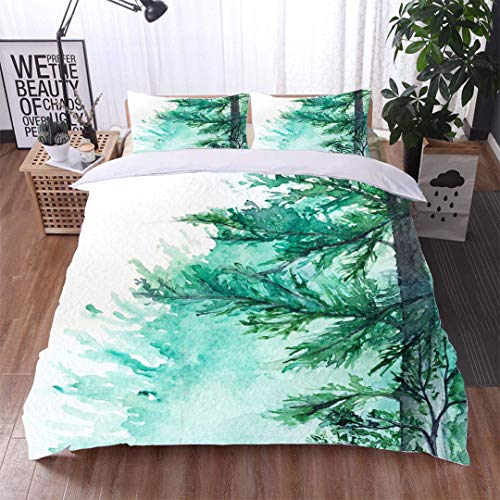 VROSELV-HOME Bedding Sets Duvet Cover Set,Watercolor Turquoise Winter Wood Forest Pine Landscape,Soft,Breathable,Hypoallergenic,Bedspreads Beach Theme Quilt Cover Children Comforter Cover