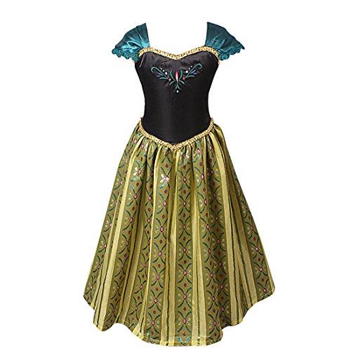 [TiaoBug Girls Princess Floral Party Cosplay Costume Dress Halloween Xmas Clothing (5-6)] (Anna Frozen Green Dress Costume)