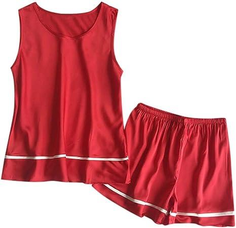 Conjunto de Pijama sin Mangas para Mujer Rojo XL: Amazon.es ...