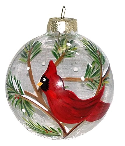 Cardinals Hand Painted Ball Ornament - Red Cardinal Ornament. Hand Painted on Clear Glass Ball.