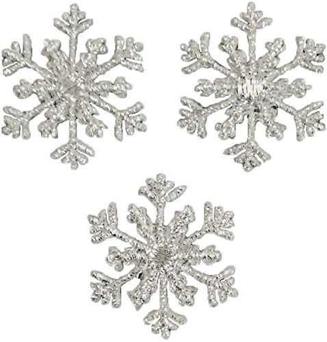 (Expo International Christmas Small Branch Snowflake Iron-on Applique Trim Embellishment, Silver, 3-Pack)