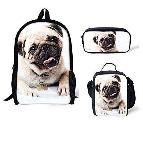 Bigcardesigns White Fashion Pug Bags School Backpack Lunch Bag Pen Case 3 Sets for Boys Girls