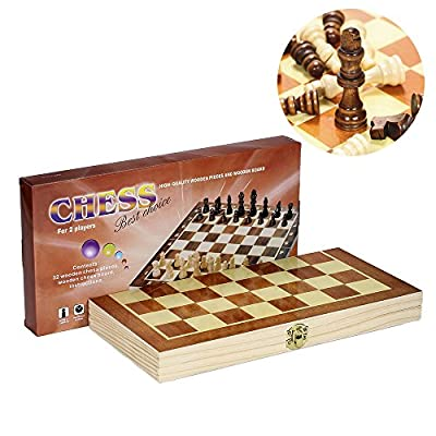 Classic Wooden Chess Set Board – Folding Boards With Storage Bags and Genuine Intricately Carved Wood Pieces Great for Adults and Kids – For Home and Travel