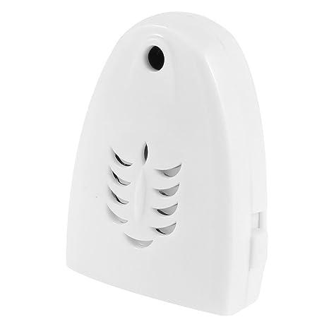 TOOGOO(R) Timbre de saludo de Carcasa de plastico blanco Inalambrico Triangular Sensor de