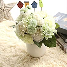 Duosuny Wedding Bouquet Flower Arrangement Home Decorative Flowers Real Touch Silk Artificial Flowers- Rose, Daisy, Dahlia, Wedding Decoration, Flowers Bunch Hotel Party (White)