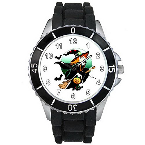 BMSC1013 Halloween Flying Witch Black Jelly Silicone Strap Mens Ladies Wrist Watch