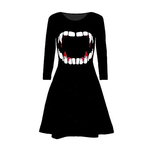 wlgreatsp Halloween Donne Abito lungo manica Floreale stampato Camicette Dress